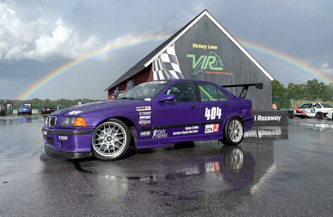 purple E36 M3 at VIR rainbow