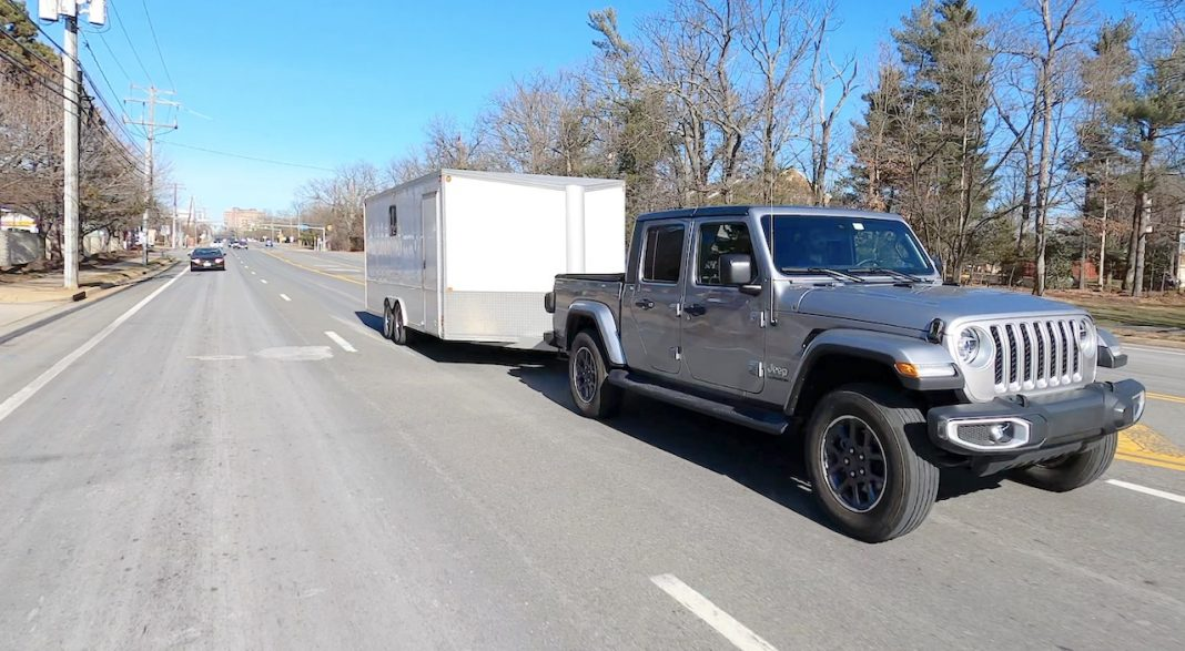 Jeep Gladiator towing enclosed trailer