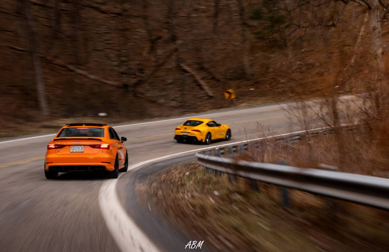 Nitro Yellow 2021 Toyota Supra and Glut Orange Audi S3