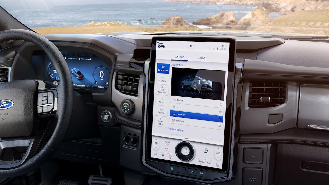 2021 Ford F-150 Lightning EV Sync 4A screen