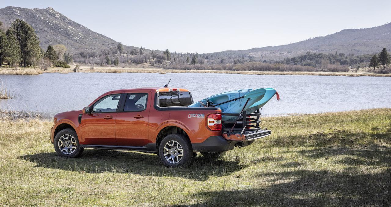 2022 Ford Maverick orange bed extender kayak