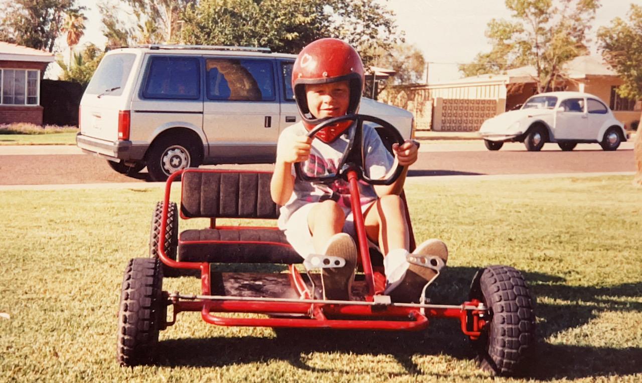 Travis Shumake childhood go kart